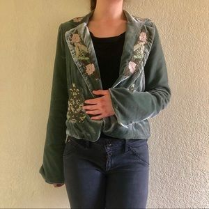 True Meaning green blazer with unique details
